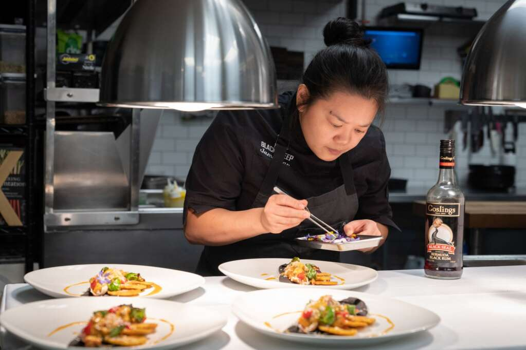 Chef Jamie Tran, from The Black Sheep in Las Vegas, puts the final touches on one course at 7908 in Aspen.
