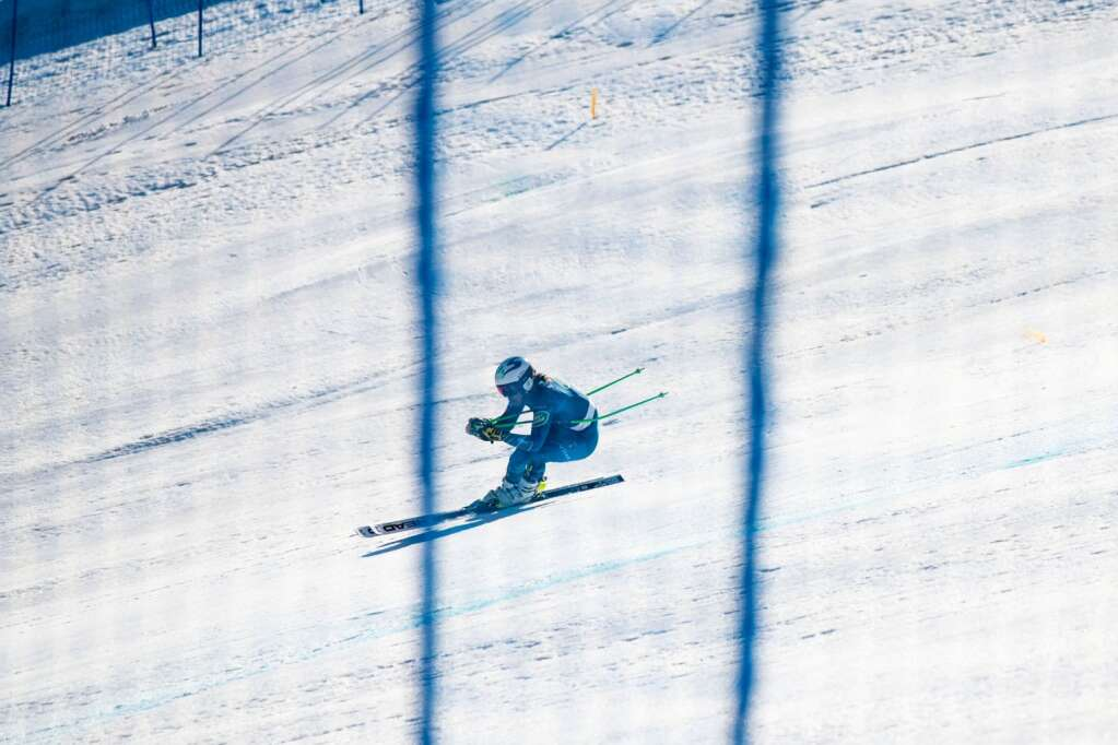 American alpine skier Bridger Gile competes in his first run of the Men's Downhill National Championship at Aspen Highlands on Saturday, April 10, 2021. (Kelsey Brunner/The Aspen Times)