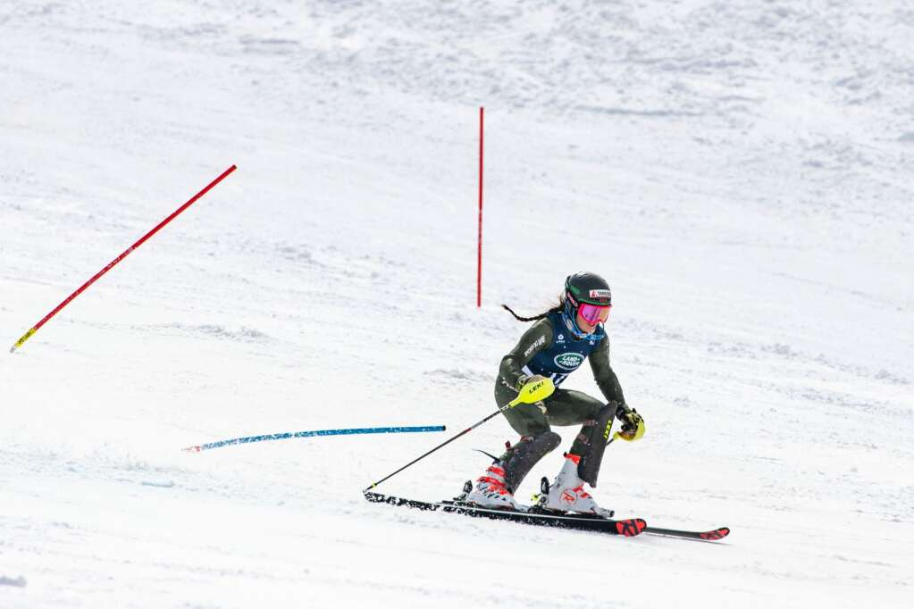 Canadian alpine skier Kiara Alexander makes turns during the second run of the Women's Slalom National Championships at Aspen Highlands on Friday, April 16, 2021. (Kelsey Brunner/The Aspen Times)