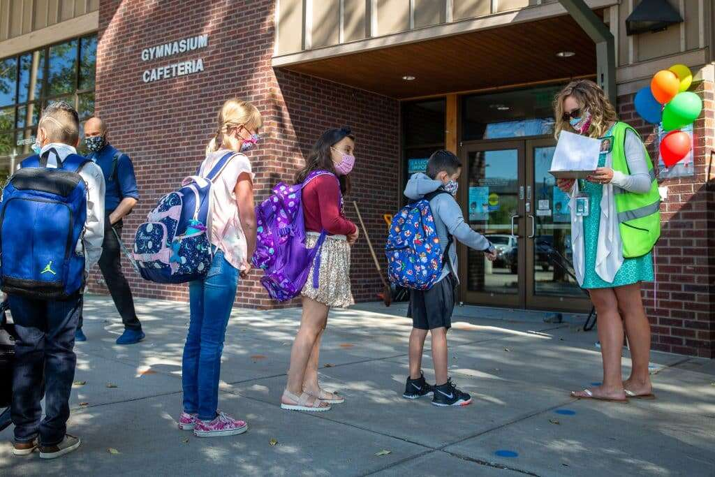 Students wear their masks as they return to Silverthorne Elementary for the first day of school Aug. 27. | Photo by Liz Copan / Summit Daily archives