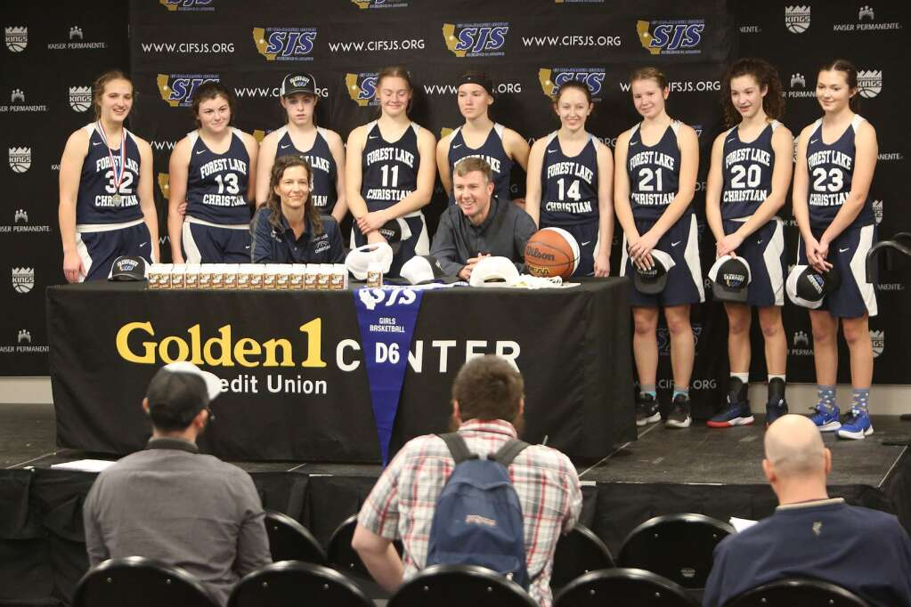 The Lady Falcons and coaches answer questions from the media following their D-6 championship win at the Golden 1 Center. | Photo: Elias Funez