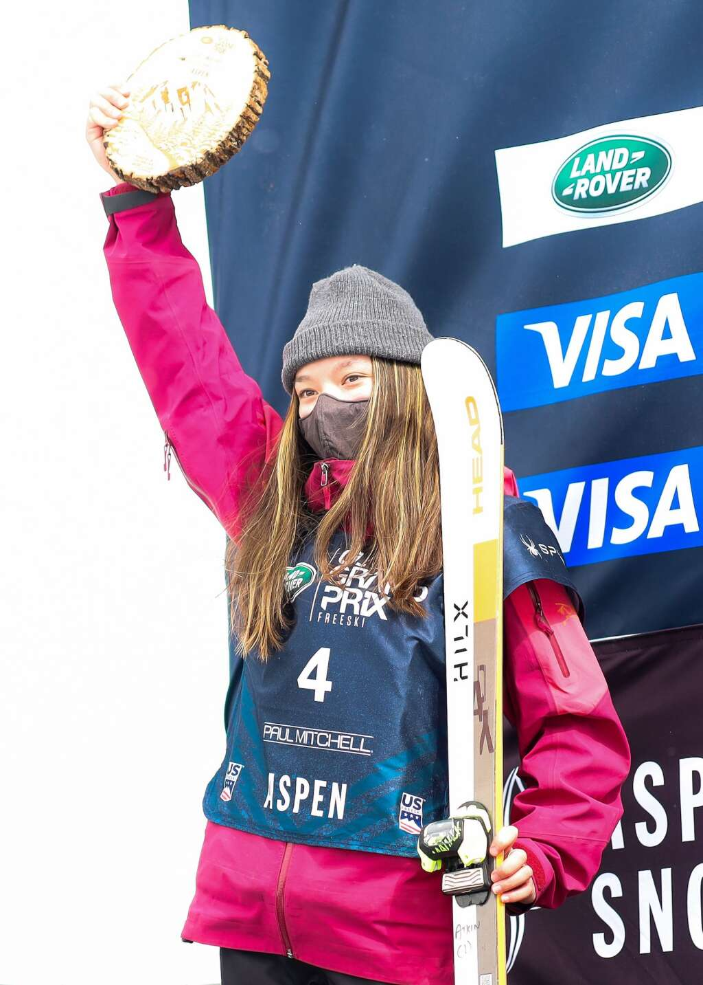 Zoe Atkin stands on the podium after the women's freeski halfpipe final of the U.S. Grand Prix on Sunday, March 21, 2021, at Buttermilk Ski Area in Aspen. Photo by Austin Colbert/The Aspen Times.