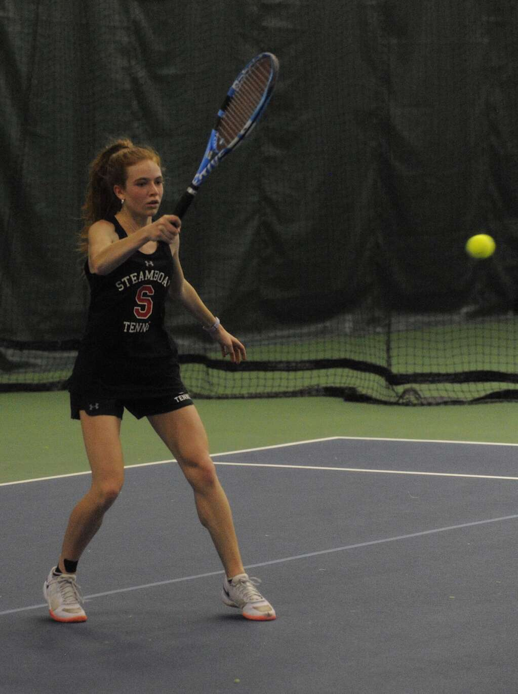 Steamboat Springs freshman tennis player Kelsey Norland focuses on the ball in a match against Basalt at home on Saturday. (Photo by Shelby Reardon)
