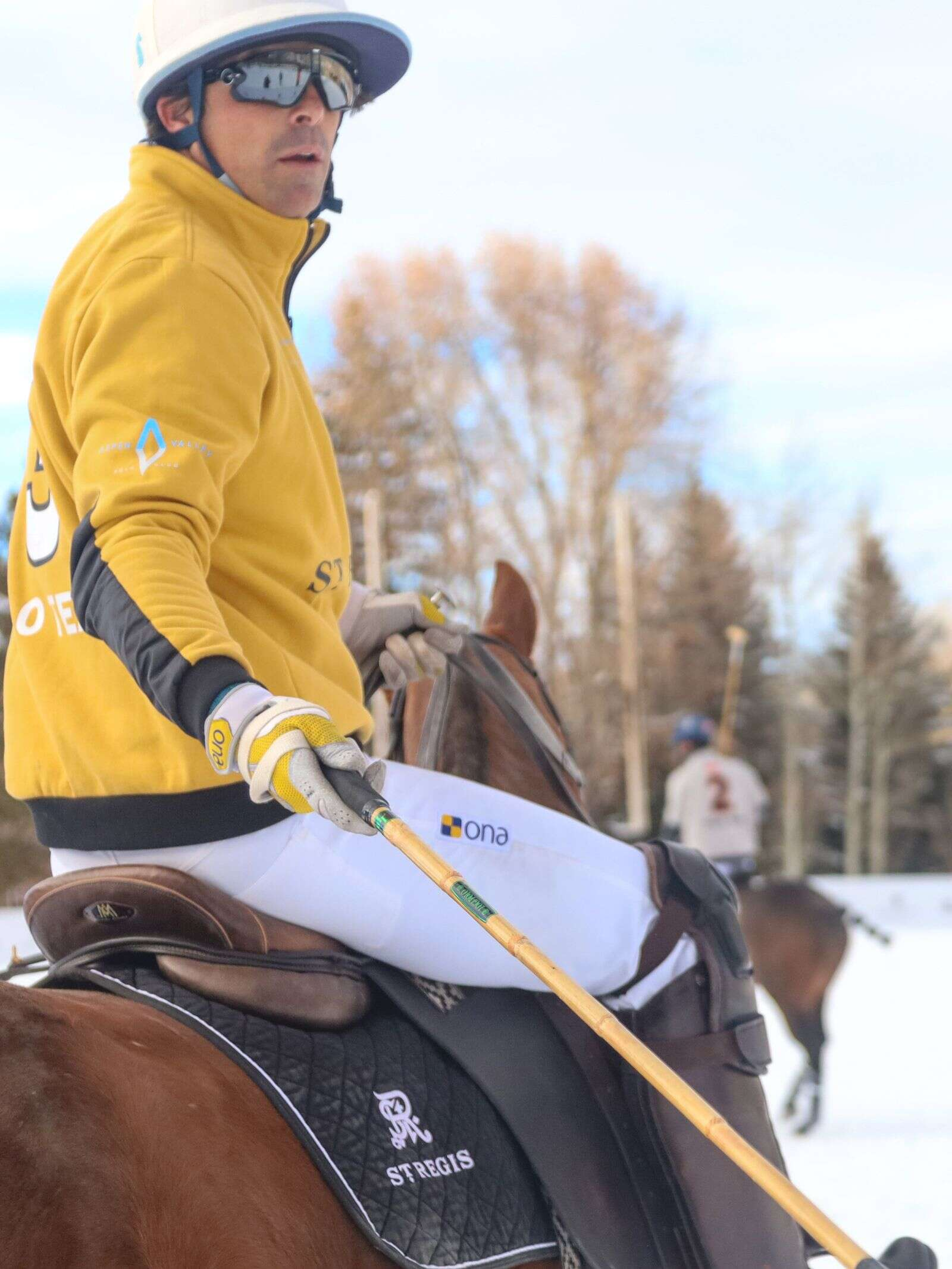 Nacho Figueras competes in the World Snow Polo Championship on Sunday, Dec. 20, 2020, at Rio Grande Park in Aspen. Photo by Austin Colbert/The Aspen Times.