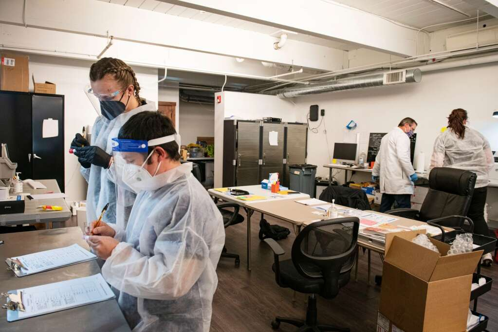 The Aspen Covid Testing lab team works to process COVID-19 tests on Friday, Jan. 22, 2021. (Kelsey Brunner/The Aspen Times)