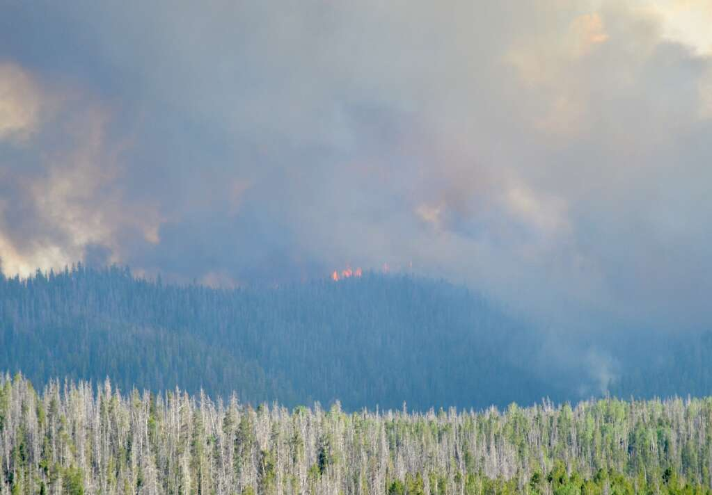 The Muddy Slide Fire on June 22 as seen from Routt County Road 16. (Photo by Dylan Anderson)