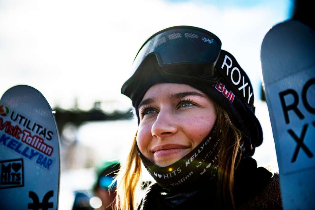 Kelly Sildaru stands at the bottom of the slopestyle course after winning the women's ski final on Sunday, Jan. 26, 2020. (Kelsey Brunner/The Aspen Times)