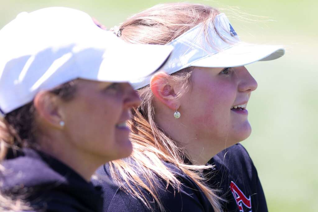 Tessa Guthrie, right, talks with coach Shannon Worth during the Aspen High School girls golf tournament on Monday, May 24, 2021, at the Aspen Golf Club. Photo by Austin Colbert/The Aspen Times.