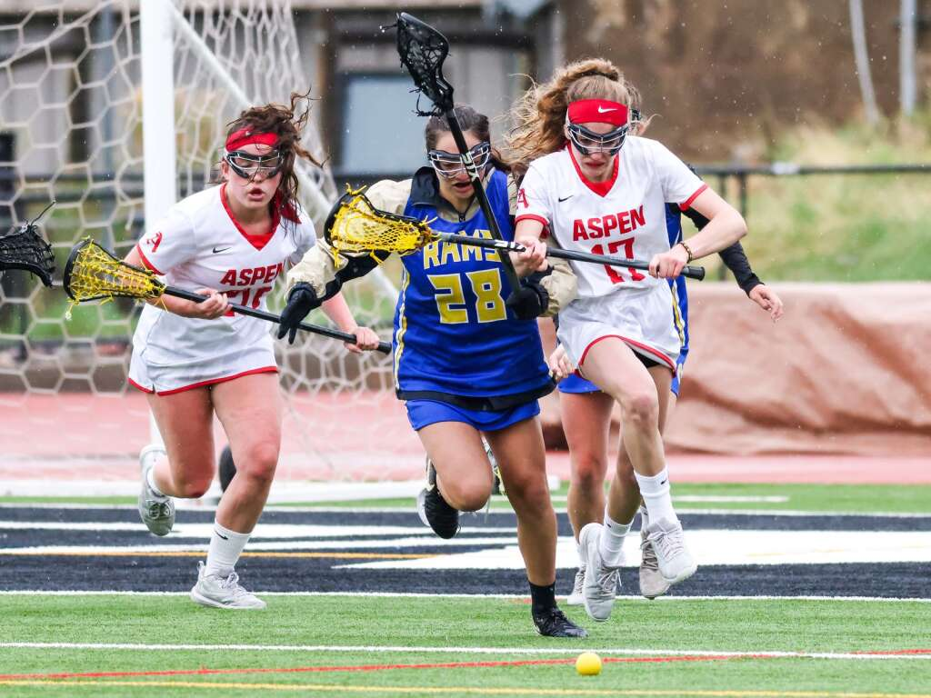 Aspen High School girls lacrosse plays against Roaring Fork on Monday, May 17, 2021, on the AHS turf. Photo by Austin Colbert/The Aspen Times.