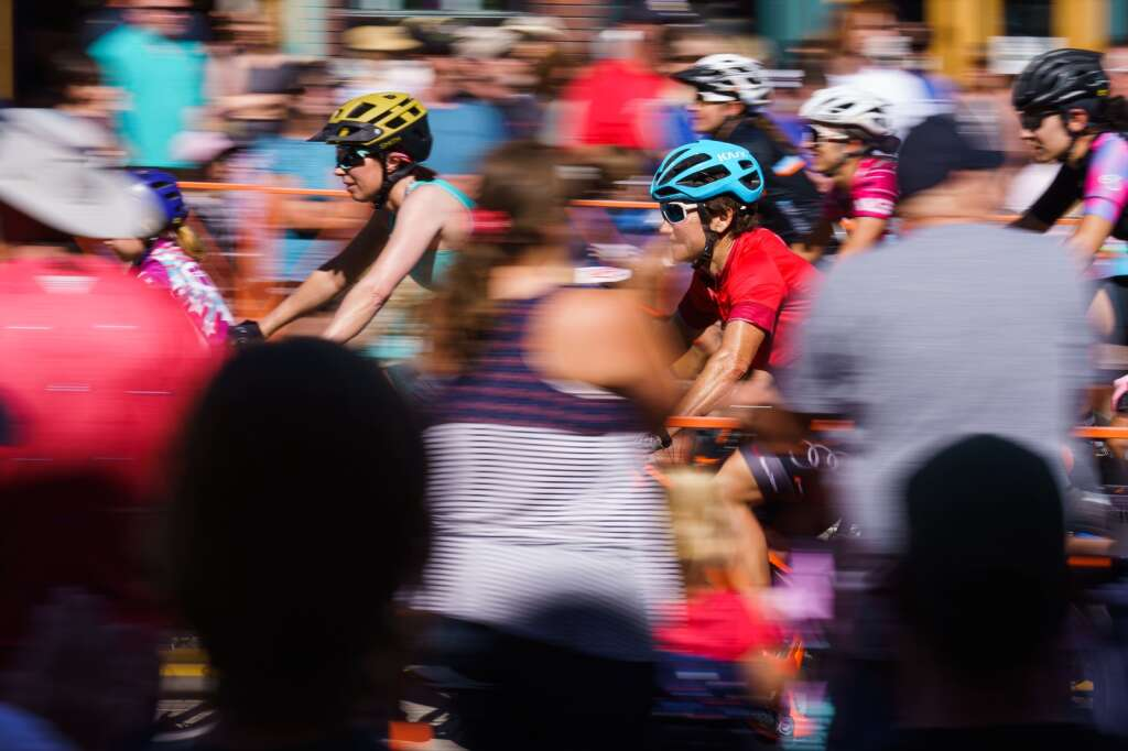 Racers depart from the start line at the heart of downtown Breckenridge for the Firecracker 50 mountain bike race on July 4, 2021. | Photo by John Hanson