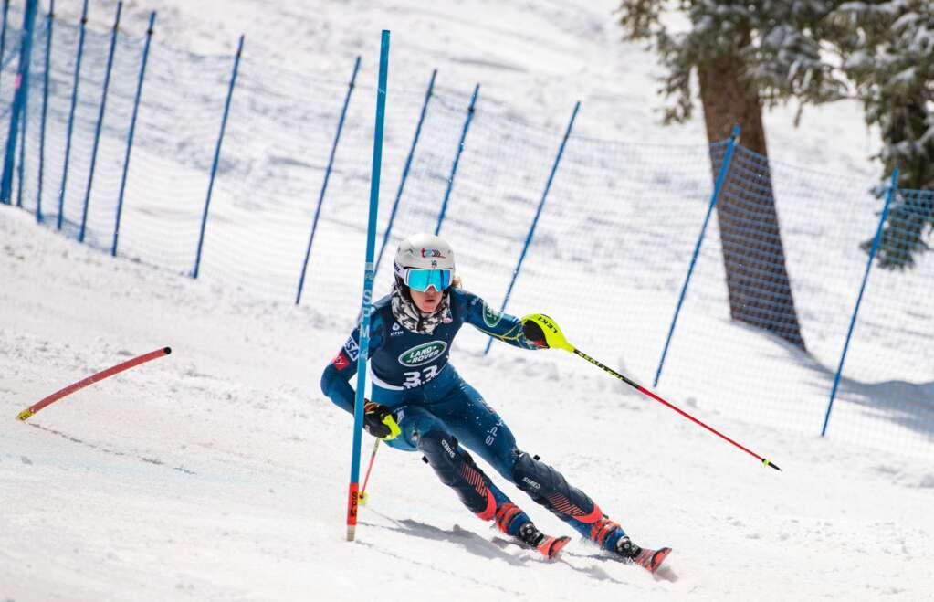 Jackson, Wyoming alpine skier Resi Stiegler makes turns during her second, winning run at the Women's Slalom National Championships at Aspen Highlands on Friday, April 16, 2021. (Kelsey Brunner/The Aspen Times)