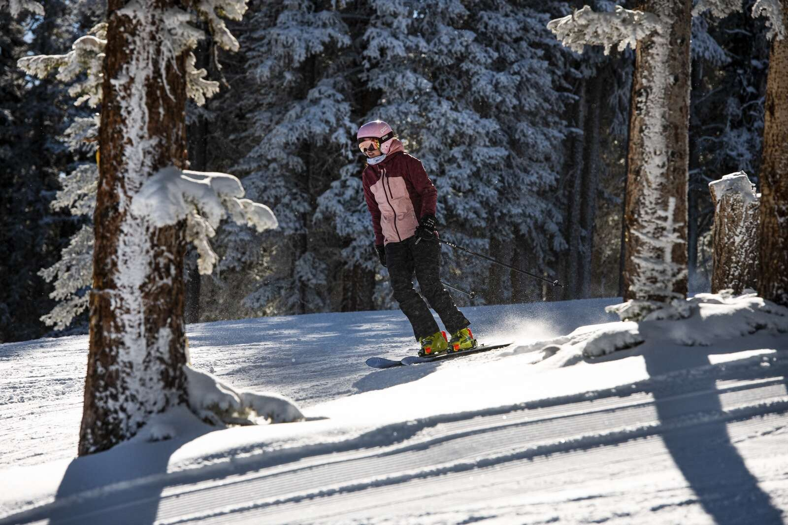 A skier makes her way down the mountain on opening day of Aspen Mountain on Wednesday, Nov. 25, 2020. (Kelsey Brunner/The Aspen Times)