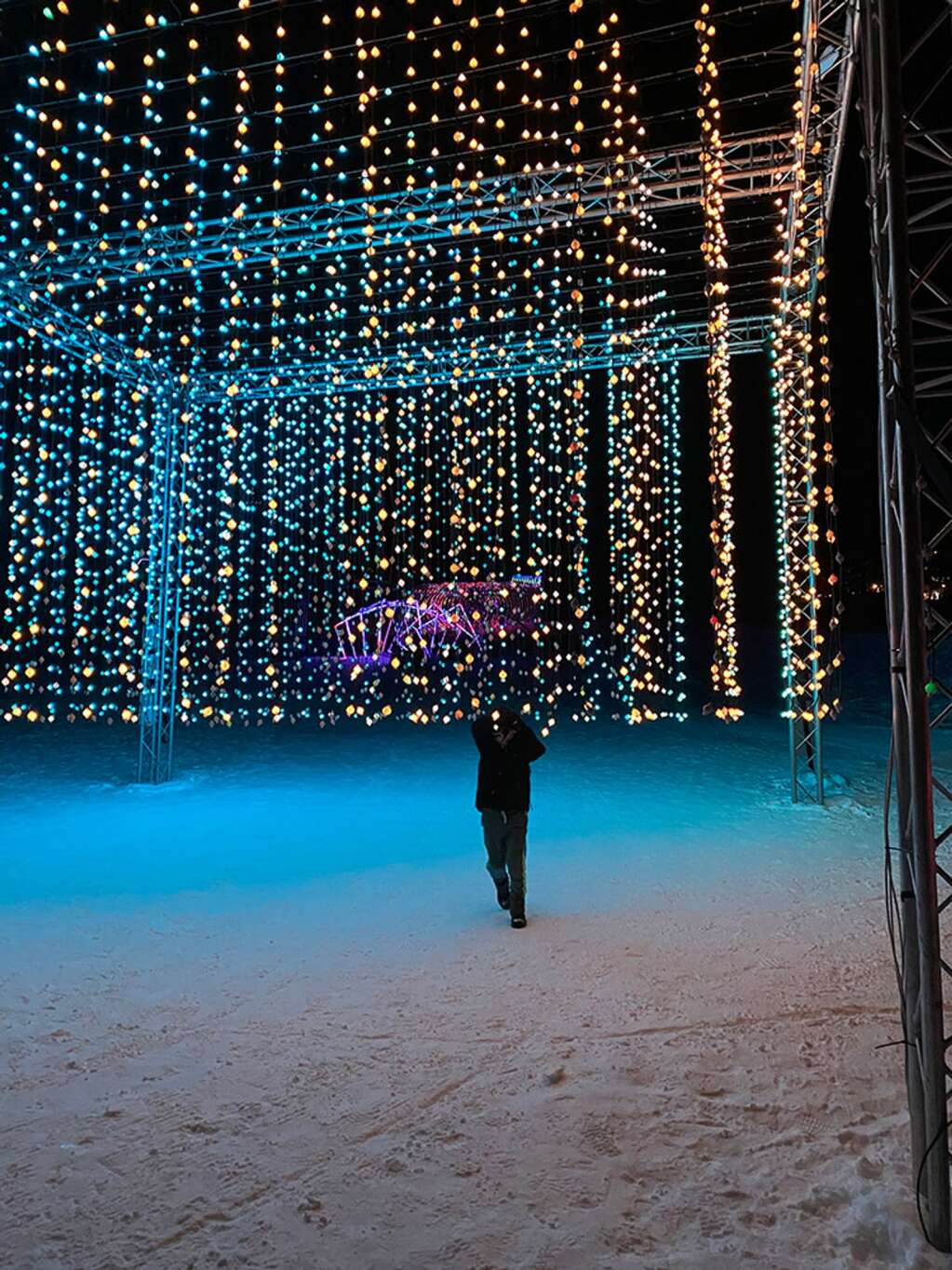 Charles Remington relishing the chance to explore Snowmass Luminescence, an interactive art and light display.