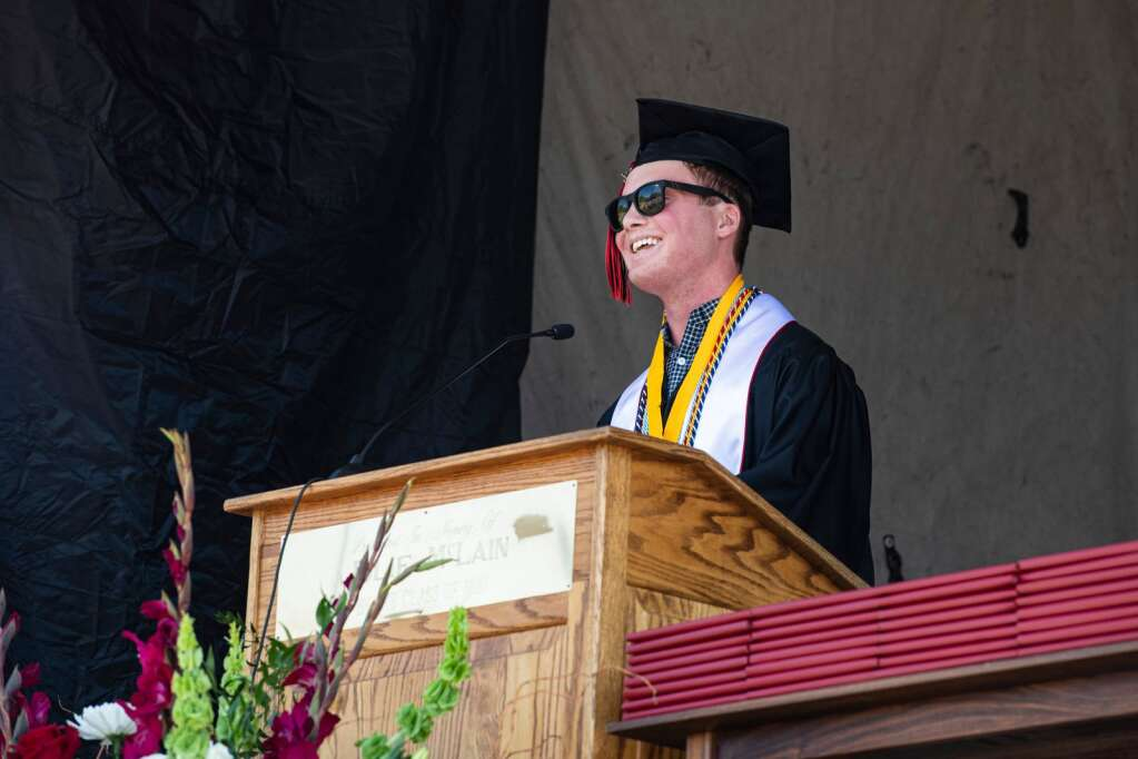 Aspen High School's co-salutatorian Jack Blocker gives a speech to his classmates during the commencement ceremony on Saturday, June 5, 2021. (Kelsey Brunner/The Aspen Times)