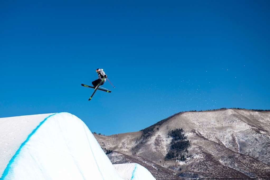 Freestyle skier Nick Goepper competes in the men's ski slopestyle finals before finals at X Games 2021 at Buttermilk on Sunday, Jan. 31, 2021. (Kelsey Brunner/The Aspen Times)