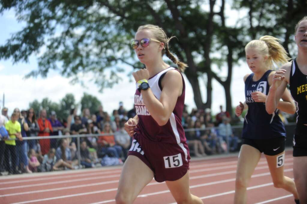 Soroco runner Rose Karrow finally cracked the six-minute mark, running the mile in 5:55.62 to take 12th at the CHSAA State Track and Field Championships at JeffCo Stadium on Saturday. (Photo by Shelby Reardon)