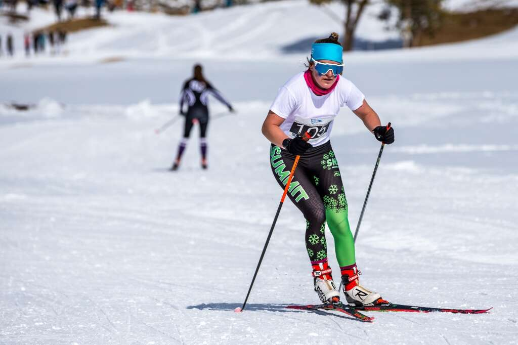 Summit's Tai-Lee Smith competes in the 3K girls skate race at the 2021 Colorado Nordic Ski State Championships held at the Gold Run Nordic Center in Breckenridge on Saturday, March 6. | Photo by Liz Copan / Studio Copan