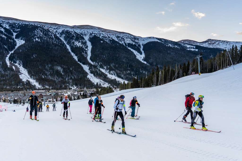 Racers ascend uphill as part of Copper Mountain Resort's first Uphill Race Series this winter. | Photo by Curtis DeVore / Copper Mountain Resort