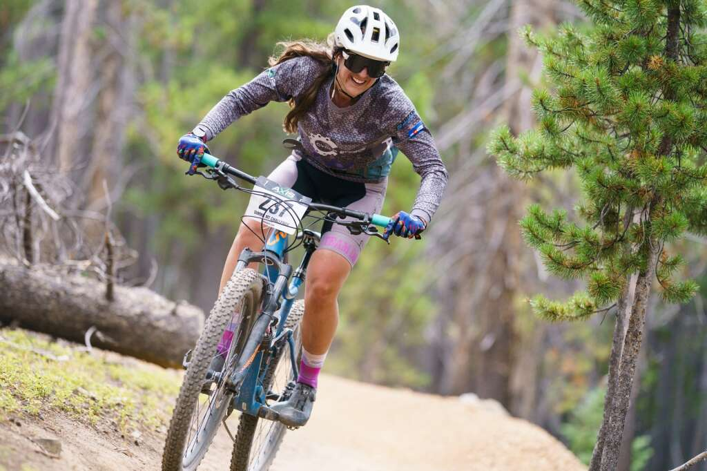 Samantha Streletsky Of Silverthorne rallies some singletrack during the Fall Classic mountain bike race in Breckenridge on Sunday. | Photo by John Hanson/For the Summit Daily News