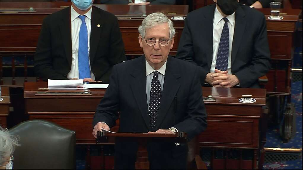 In this image from video, Senate Majority Leader Mitch McConnell of Ky., speaks as the Senate reconvenes after protesters stormed into the U.S. Capitol on Wednesday, Jan. 6, 2021. (Senate Television via AP)