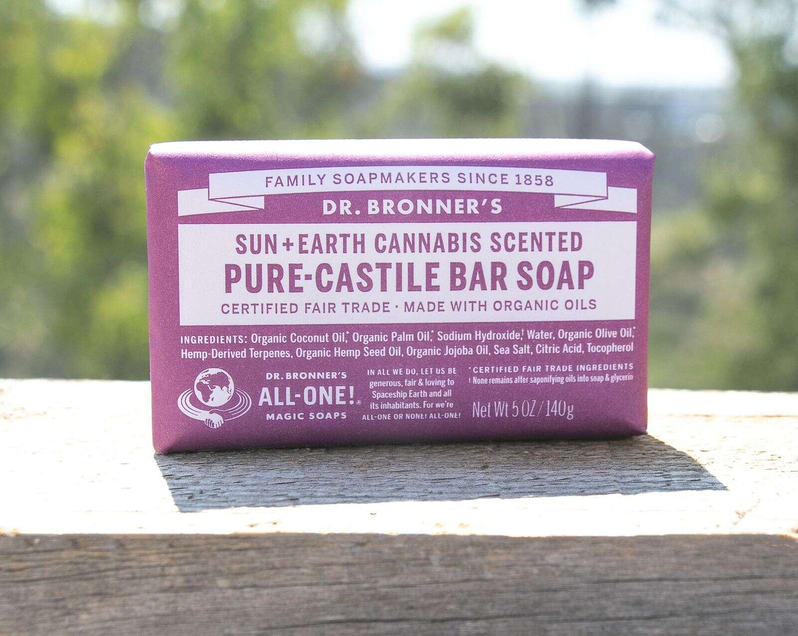 A limited run of Sun+Earth Cannabis Scented Pure-Castile Bar Soaps are only available via a minimum donation of $25, which comes with a Dr. Bronner's Lavender Organic Hand Sanitizer. | Courtesy Dr. Bronner's