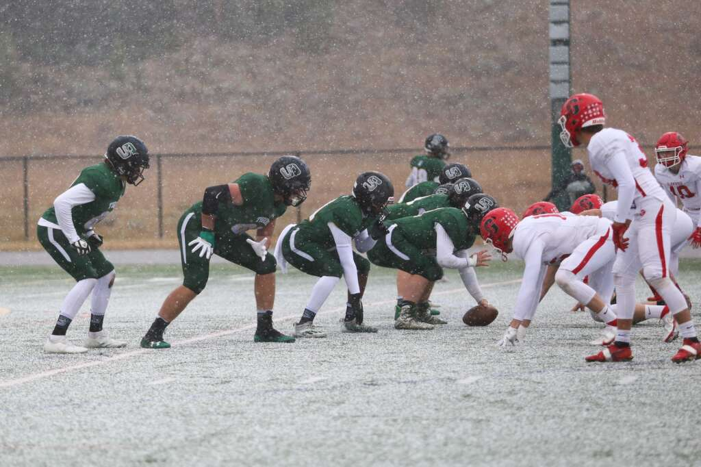 The Summit offensive line prepares to block Glenwood Springs during the Tigers 41-0 win over the Demons on Saturday, Oct. 9 at Tiger Stadium in Breckenridge. | Kerri Elam/Courtesy photo