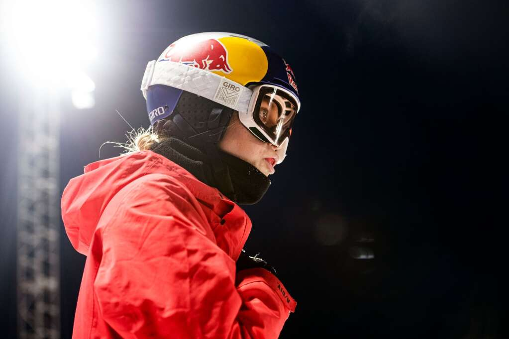 American snowboarder Maddie Mastro gives herself a pep talk before taking a lap through the superpipe during a night practice for the 2021 X Games Aspen at Buttermilk on Thursday, Jan. 28, 2021. (Kelsey Brunner/The Aspen Times)