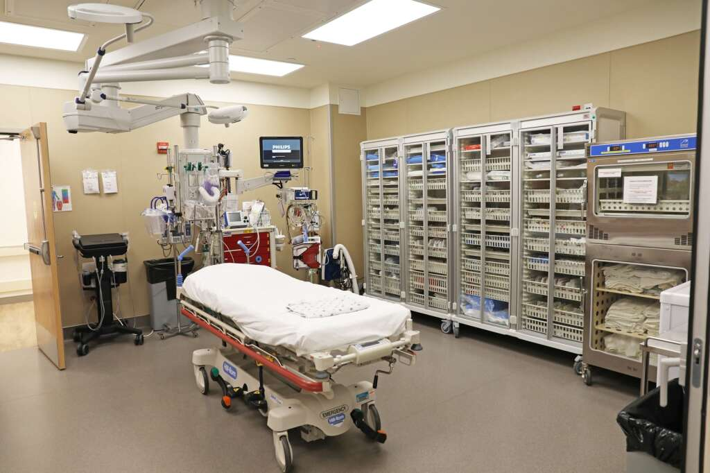 The expanded and improved emergency department at UCHealth Yampa Valley Medical Center includes a large trauma room, with everything  that staff and doctors need to better treat patients. (Photo by John F. Russell)