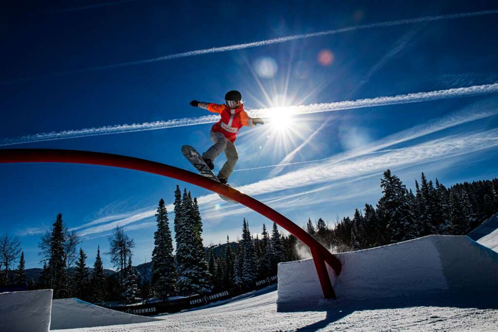 X Games athlete Laurie Blouin practices for women's snowboard slopestyle on Friday, Jan. 24, 2020. (Kelsey Brunner/The Aspen Times)