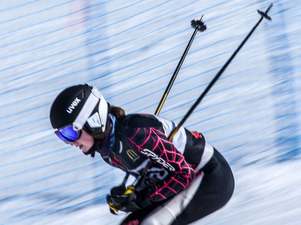 Skiers take to the course during a race hosted by Aspen High School on Friday, Feb. 26, 2021, at Aspen Highlands. Photo by Austin Colbert/The Aspen Times.
