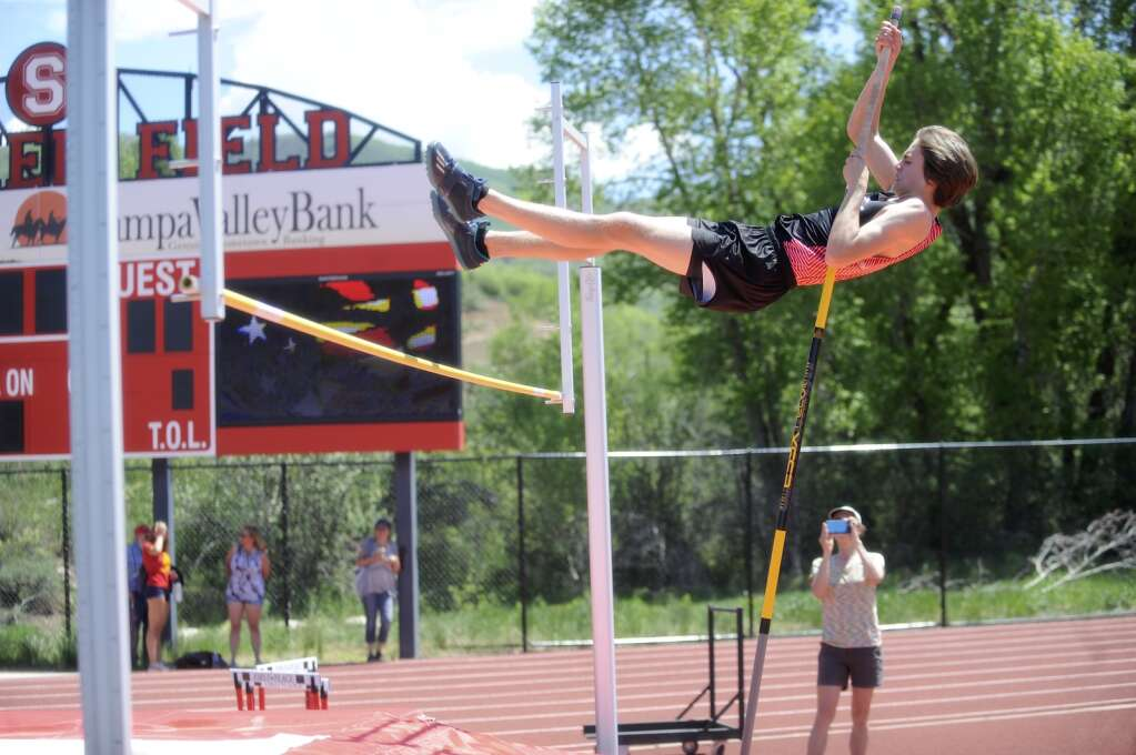 Steamboat Springs pole vaulter Michael Lake competes during a home meet at Gardner Field on Saturday afternoon. (Shelby Reardon)