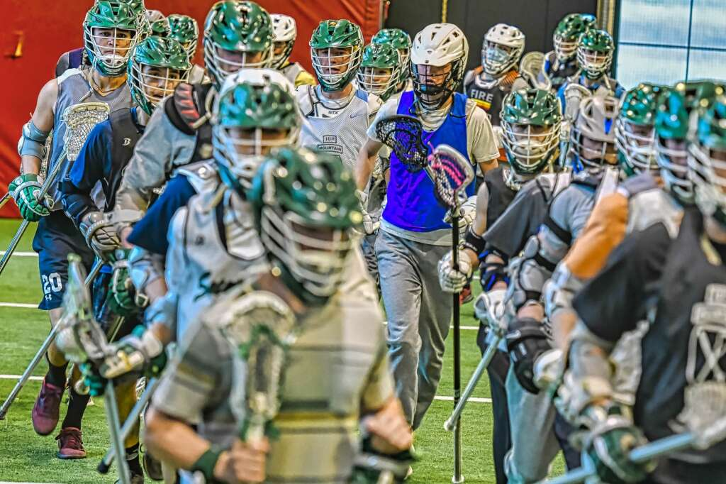 The Summit High School lacrosse team practices at the Summit High School indoor field on Tuesday, May 4, 2021. | Photo by Joel Wexler / Rocky Mountain.Photography