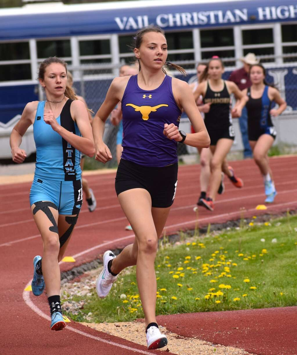 Basalt's Katelyn Maley sets the pace in the girls 800 meters Saturday on the way to the event win.| John Stroud/Post Independent
