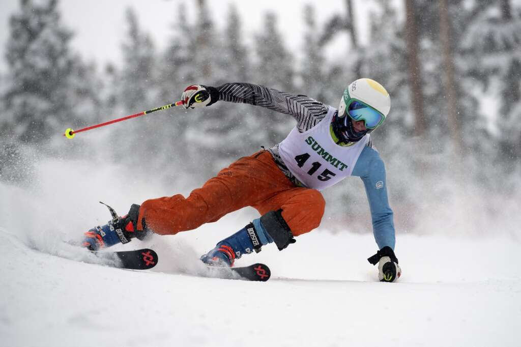 Summit High School Alpine ski team racer Gavin Masters competes in giant slalom during a competition at Keystone Resort on Friday, Feb. 5. | Photo by Jason Connolly / Jason Connolly Photography