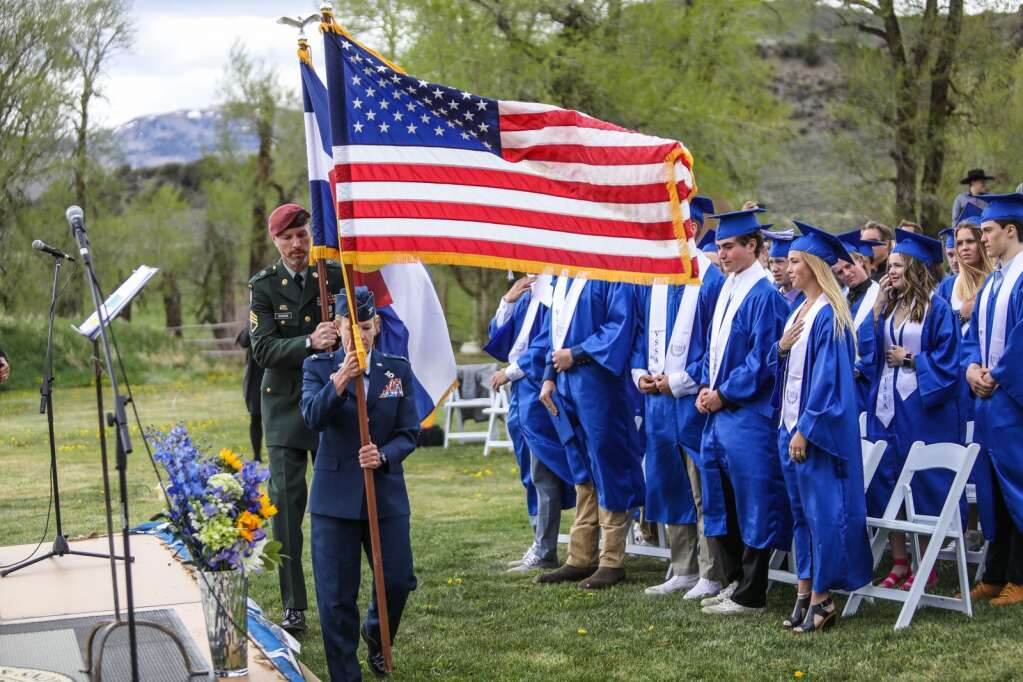 The Colors are presented at the beginning of the Vail Ski and Snowboard Academy Commencement Friday at 4 Eagle Ranch in Wolcott. Teri Armistead sang the National Anthem.   Chris Dillmann/cdillmann@vaildaily.com