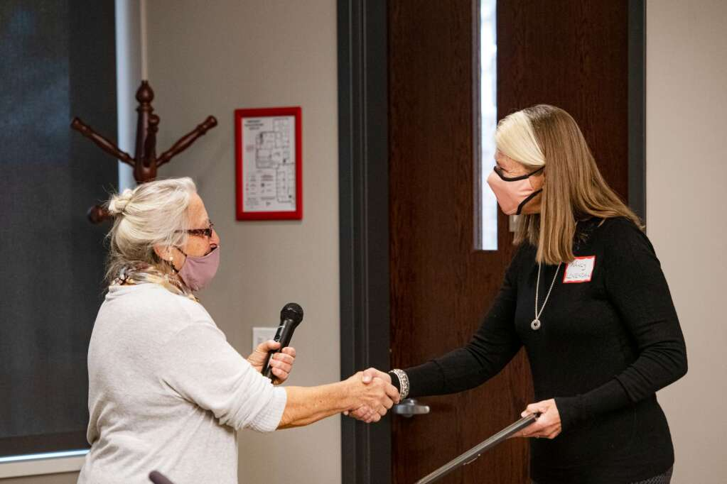 Nancy Lovendahl receives the Pitkin County Cares Education Award in the Pitkin County commissioners meeting room in Aspen on Tuesday, October 12, 2021. (Kelsey Brunner/The Aspen Times)