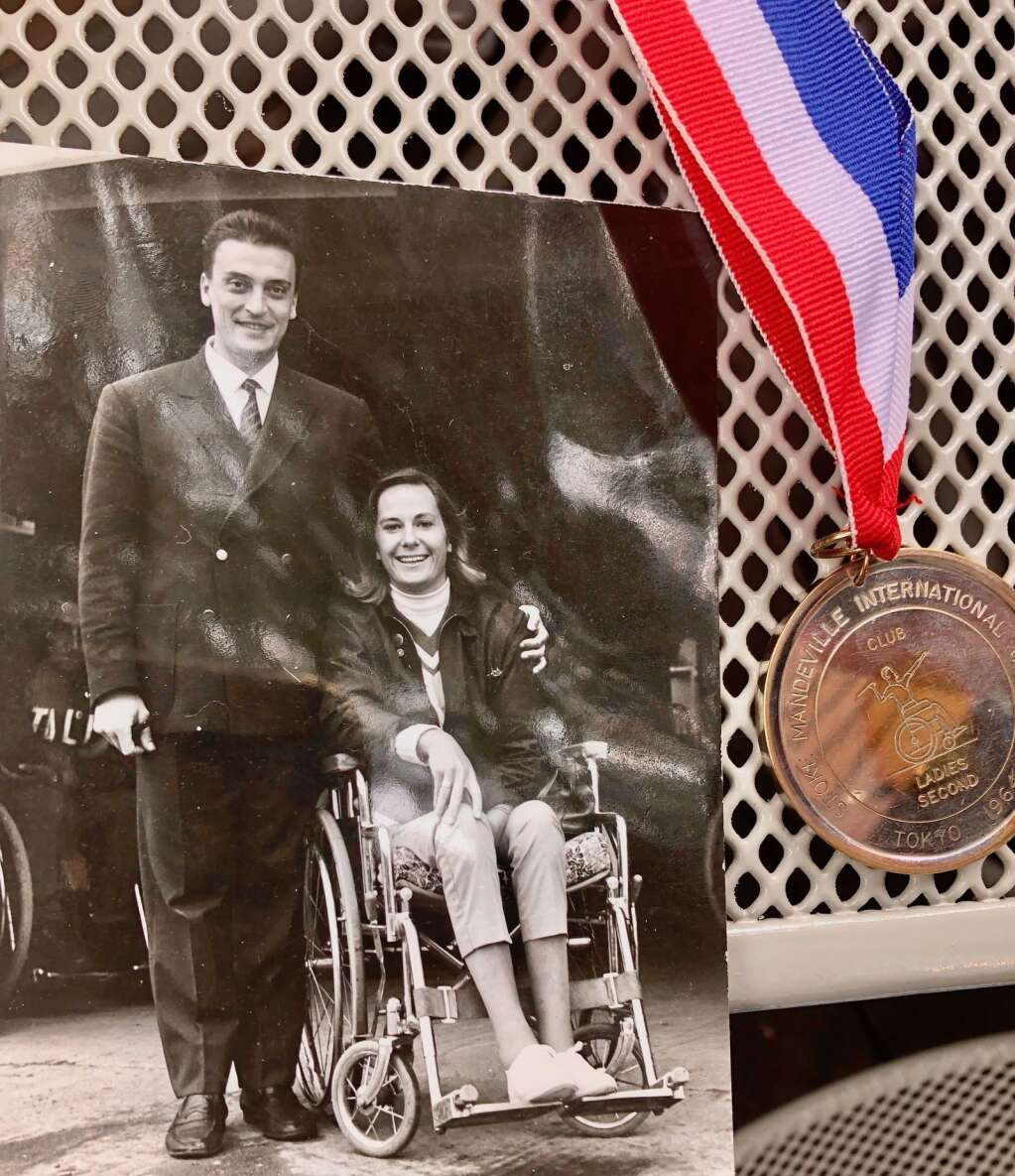 A photo of Judy (Waterman) Huston with the Italian wheelchair fencing coach in the 1964 Paralympics. Courtesy photo