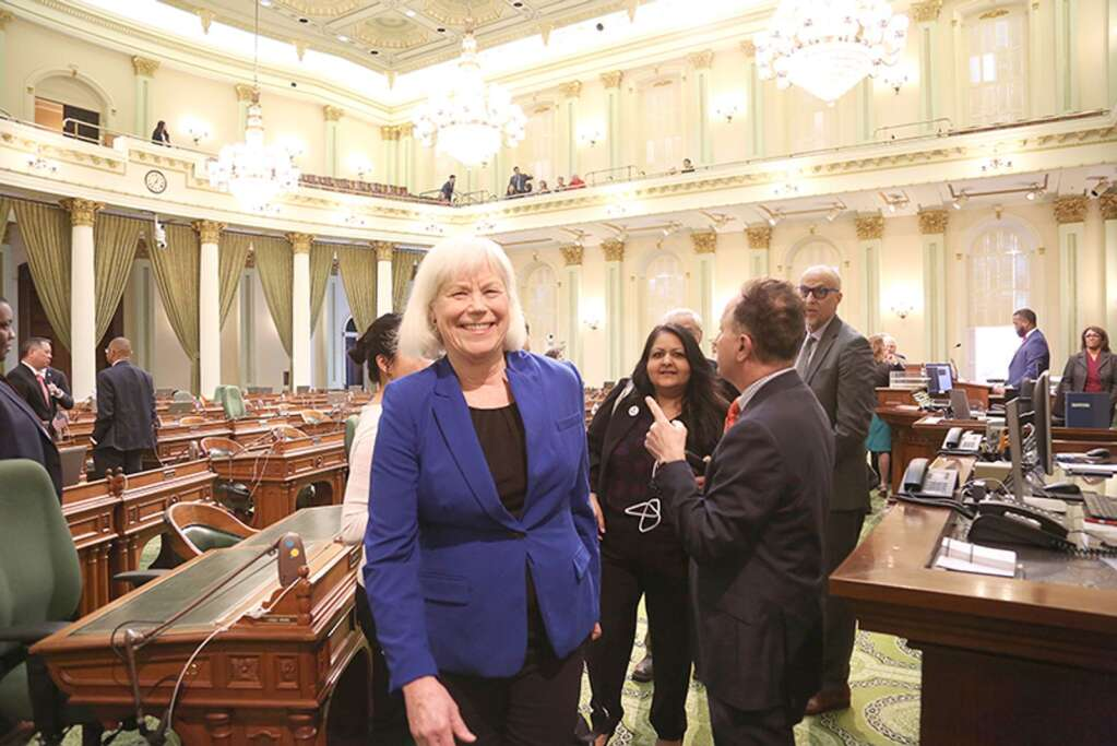 Amanda Wilcox smiles as she leaves the State Capital's Assembly floor in early February before she and husband Nick Wilcox were recognized for their years of lobbying for gun control. The Wilcoxes have decided to step back from active lobbying in Sacramento. | Photo: Elias Funez