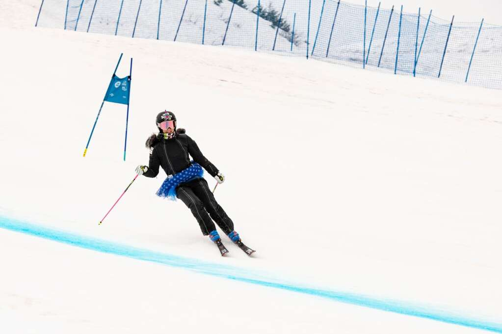 Two-time Olympian and two-time national champion Laurenne Ross skis a lap on Aspen Highlands to celebrate her retirement from the US Ski Team on Tuesday, April 13, 2021. (Kelsey Brunner/The Aspen Times)