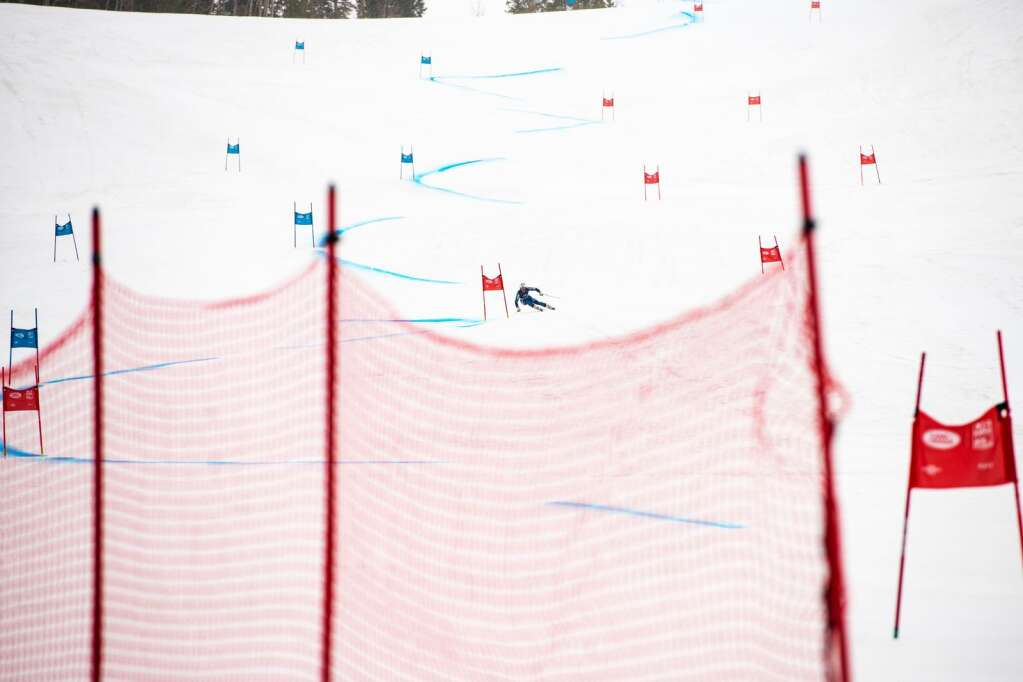 Norwegian alpine Hannah Saethereng competes in the Women's Super G National Championships on Tuesday, April 13, 2021. Saethereng placed second in the National Championships. (Kelsey Brunner/The Aspen Times)