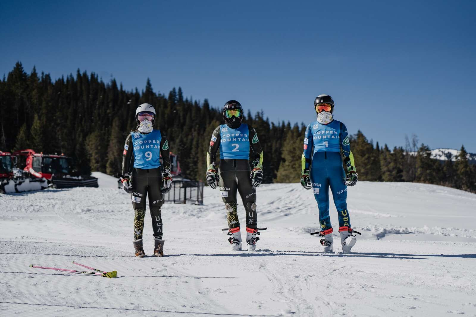 U.S. Alpine skiers physically distance at the U.S. Alpine Ski Championships at Copper Mountain Resort earlier this week. The event was a replacement for a spring 2020 national championships that was canceled due to the novel coronavirus. | Photo by Max Hall / U.S. Ski & Snowboard