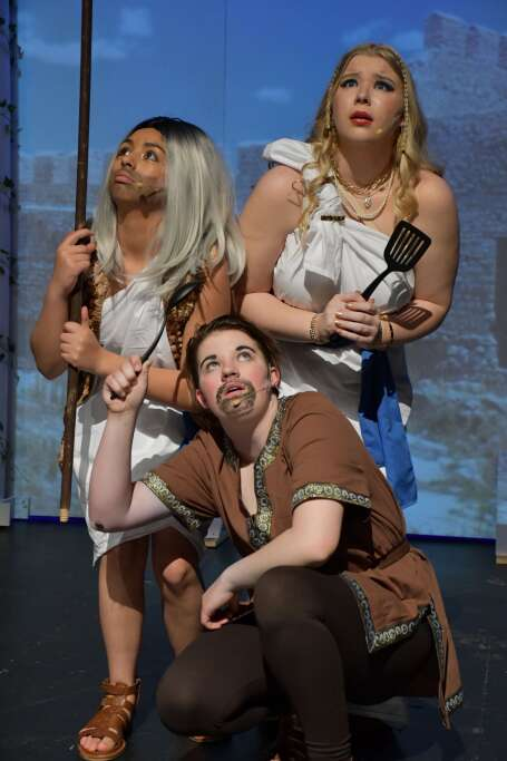 Tiresias, Lysistrata and Peon (Maria Sanchez Silva, Millie Fritz, Nevaeh Allen) fearfully anticipate the arrival of Zeus in