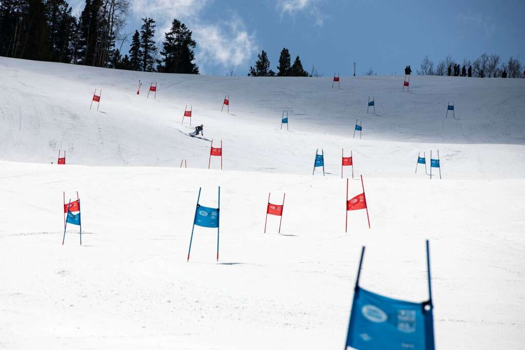 American alpine skier Liam McNamara competes in the U.S. Alpine Men's Giant Slalom Championships at Aspen Highlands on Tuesday, April 6, 2021. (Kelsey Brunner/The Aspen Times)
