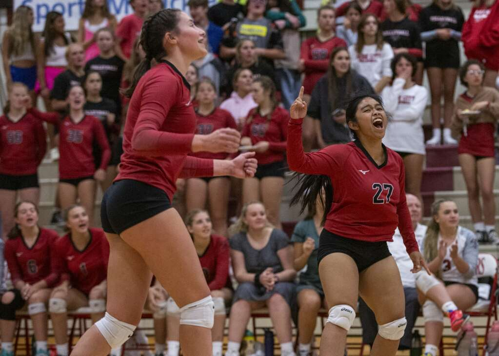 Park City High School senior Estelle Meneses (27) celebrates a point scored against Highland High School during their matchup Tuesday evening, Sept. 7, 2021. The Miners swept the Rams 3-0. (Tanzi Propst/Park Record)