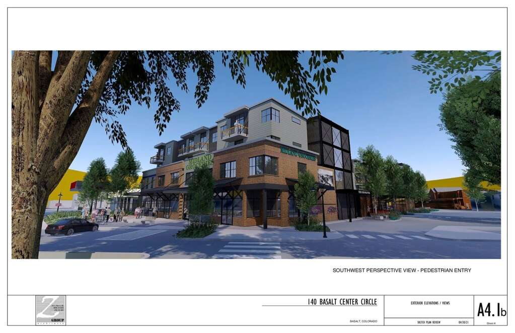 An architect's drawing shows how the southwest corner of the new development would feature a patio and seating in a prime location.   Courtesy image