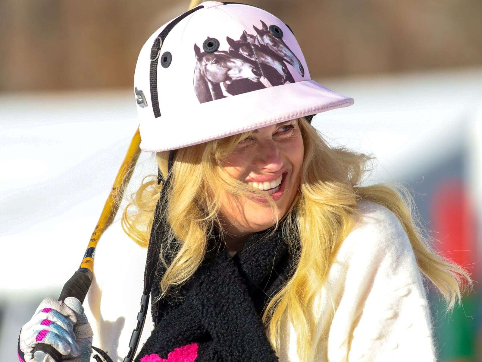 Actress Rebel Wilson made a guest appearance at the Aspen World Snow Polo Championship on Saturday, Dec. 19, 2020, at Rio Grande Park in Aspen. (Photo by Austin Colbert/The Aspen Times)