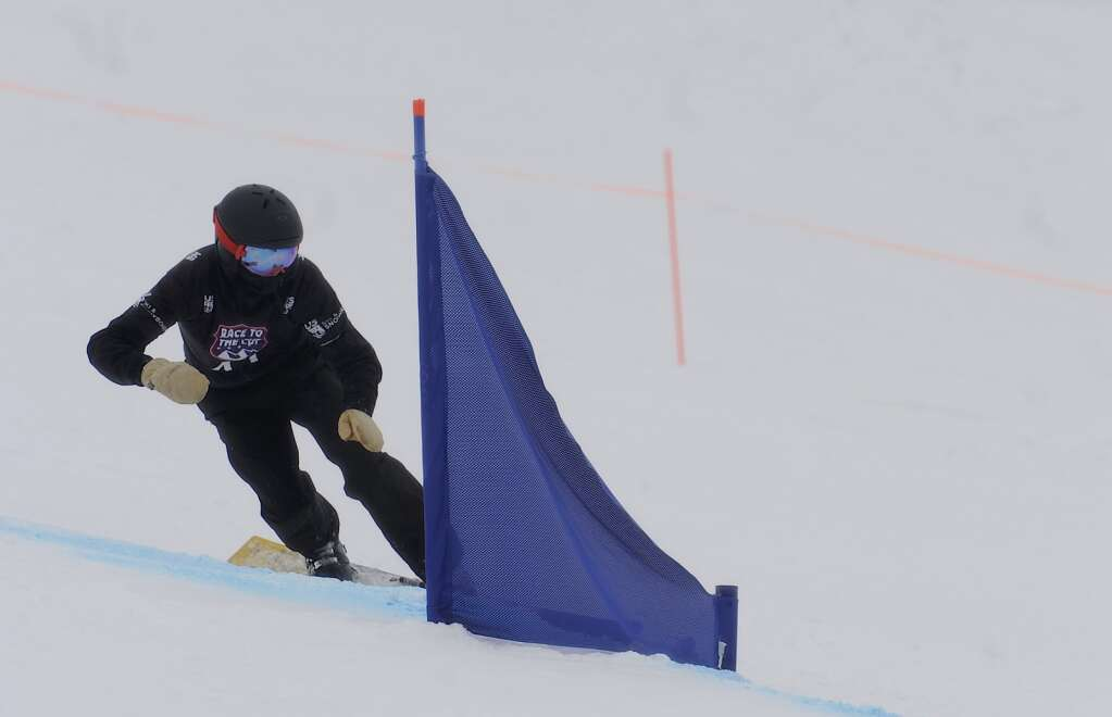 Steamboat Springs Winter Sports club athlete Benjamin Carpenter competes at a parallel slalom Race to the Cup event at Howelsen Hill on Saturday. (Photo by Shelby Reardon)