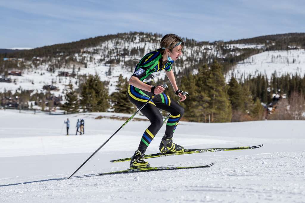 Summit's Evan Callahan competes in the boys 3K skate race at the 2021 Colorado Nordic Ski State Championships held at the Gold Run Nordic Center in Breckenridge on Saturday, March 6. | Photo by Liz Copan / Studio Copan