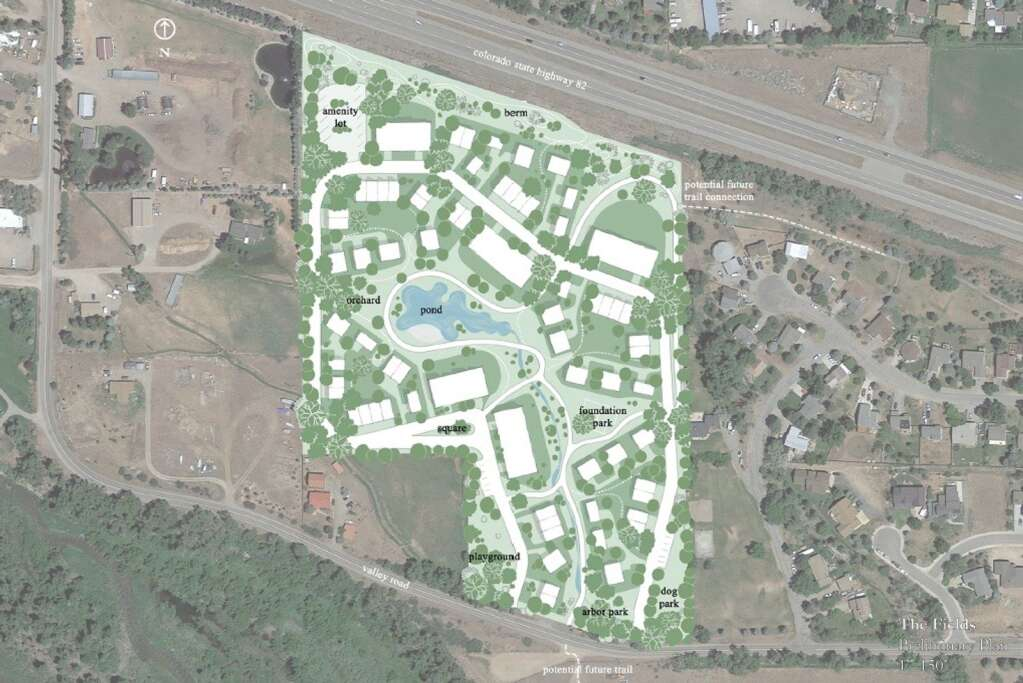 The development plan for The Fields features clusters of residences in villages around open space.   Courtesy image