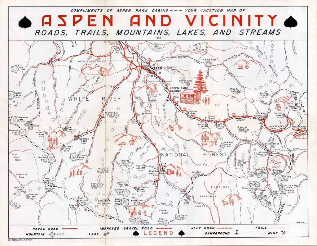"""Stirling """"Buzz"""" Cooper made this map of attractions for guests of the Aspen Park Cabins in 1956.   Aspen Historical Society/Cooper Family Collection"""